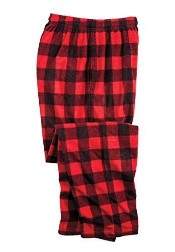 - KingSize Men's Big & Tall Microfleece Pajama Pants, Red Buffalo Plaid Big-2Xl