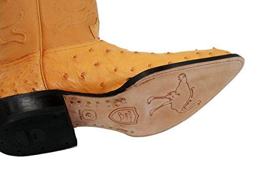 Hommes Véritable Ouest Sauvage Autruche Véritable Cuir Western Bottes De Cowboy Noir