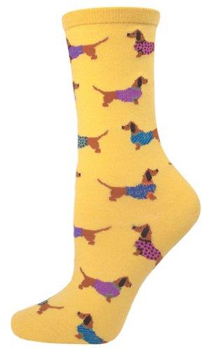 Socksmith Women's Yellow Haute Dog Crew Socks