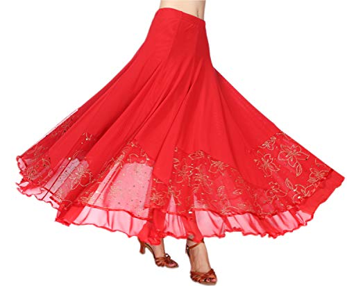 CISMARK Elegant Ballroom Dance Latin Dance Party Long Swing Race Skirt for Women