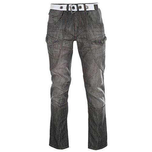 comodidad Jeans Multi para negro Fear cremallera Casual bolsillo No Belted hombre Cargo anudados botón HYfxPX