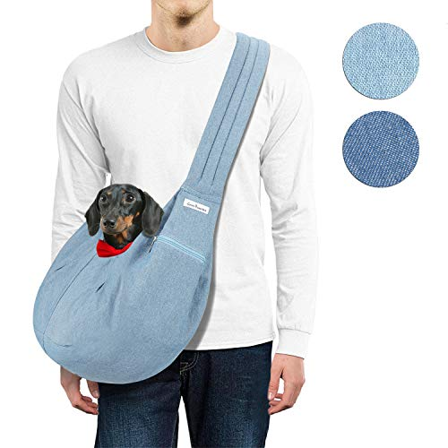 Hands Free Sling - LincaPenneton Stylish Denim Pet Sling Dog Carrier Pet Purse Shoulder Bag Breathable Denim for Summer Adjustable Padded Strap Small Cat Dog Puppy Travel Hands Free up to 12 lbs Blue