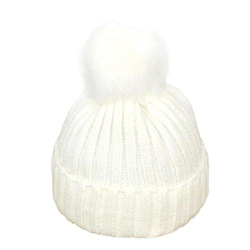 CieKen Baby Toddler Beanie Kids Boy Girl Knitted Children's Lovely Soft Hat Cap (White)