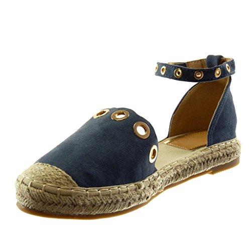 alla Corda Moda Cinturino Angkorly 2 cm Donna Sandali Espadrillas Caviglia Tacco Blocco con Perforato a Blu d'oro Scarpe YwfBqxg