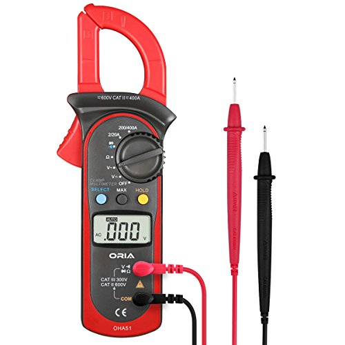 Digital Handheld Clamp Multimeters, Auto-Ranging Multimeter AC/DC Voltmeter with Voltage, AC Current, Amp, Volt, Ohm, Tests Diodes and Resistance Test Tester, Continuity, Capacitance, Frequency (RED)