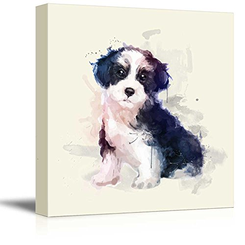Square Dog Series Watercolor Style Black and White Hair Dog