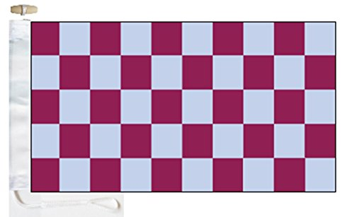 Chequered Claret and Sky Blue Check Boat Flag - 1 Yard  - Ro