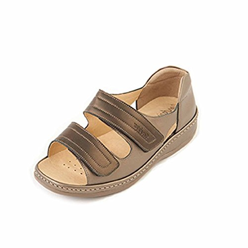 Long Touch in Back Women's Heel Twin Fastening Wide 6e Bronze pewter Sandpiper Fit Sandal Extra 'cheryl' 0qTxz7Rw