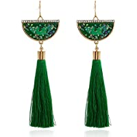 Mosichi Women Fashion Tassel Earrings Rhinestone Fan Shaped Bohemian Earrings Long Fringe Dangle