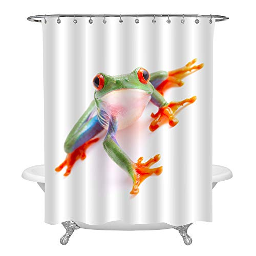 - MitoVilla Cute Funny Exotic Animal with Vibrant Eyes Home Decorations, Red Eyed Monkey Tree Frog from The Tropical Rainforest Shower Curtain Set with Hooks and Reinforced Buttonholes, Green, 72 by 78