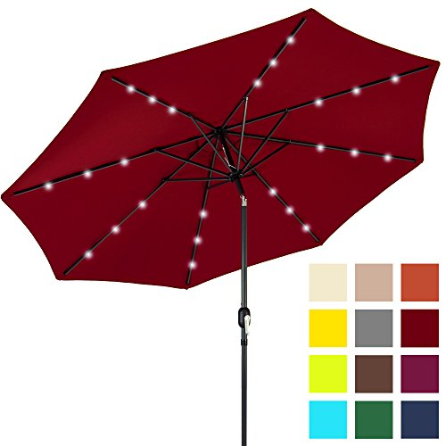 Best Choice Products 10ft Solar LED Lighted Patio Umbrella w/Tilt Adjustment – Red