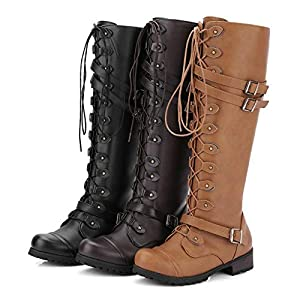 Women's Wick Lace-up Punk Tactical Thigh High Boots Military Buckle Gothic Steampunk Combat Shoes