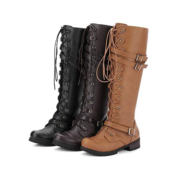 Women's Wick Lace-up Punk Tactical Thigh High Boots Military Buckle Gothic Steampunk Combat Shoes 3