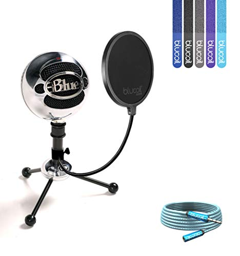Blue Microphones Snowball USB Condenser Microphone (Gloss Black) Bundle with Blucoil Pop Filter, 6' 3.5mm Headphone Extender and 5 Pack of Cable Ties