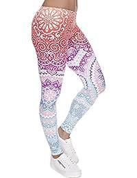 Women's Printed Leggings Full-Length Regular Size Yoga Workout Leggings Pants Soft Capri L1