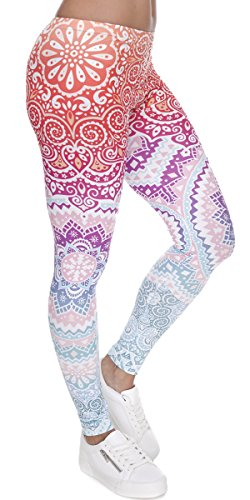 Ndoobiy Women's Printed Leggings Full-Length Regular Size Workout Legging Pants Soft Capri L1(Color Shape OS)
