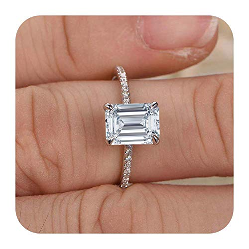 Dabangjewels 5x7mm Emerald Cut Created White Diamond .925 Sterling Silver Engagement Wedding Promise Ring Gift for Her ()