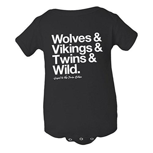 Baby Jumpsuit Loyal Timberwolves Vikings Twins Wild 1Pc Blk-18M Black
