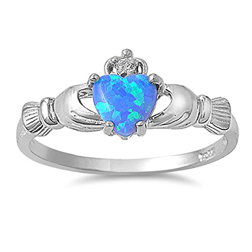 Lab Ring Blue Opal (Irish Claddagh Lab Created Blue Opal Ring Size 7)