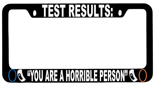 """Test Results: """"You Are A Horrible Person"""" High Quality Black Metal License Plate Frame Video Game Theme -  GSF Designs, BM02070"""