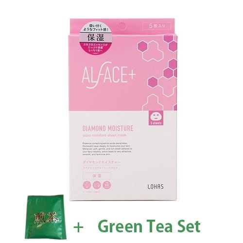 Alface Aqua Moisture Sheet Mask Daimond Moisture (Moisturizing) - 1box for 5sheet (Green Tea Set)