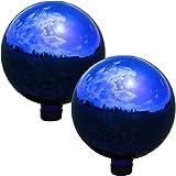 Sunnydaze Blue Mirrored Surface Gazing Globe Ball, 10-Inch, Set of 2