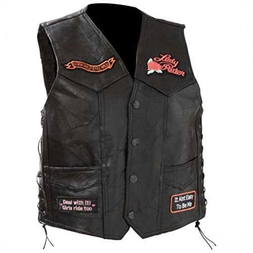 Diamond Plate Ladies Rock Design Genuine Black Patch Leather Vest Black 3X-Large