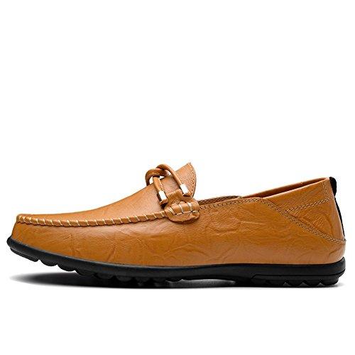 Hombre Amarillo Ocio EU el shoes 2018 resbalón Color hasta 37 Minimalism en Cuero Zapatos de los Shufang sólido Hombres Mocasines mocasín de para Mocasines tamaño de 47 tamaño Color I4wx1