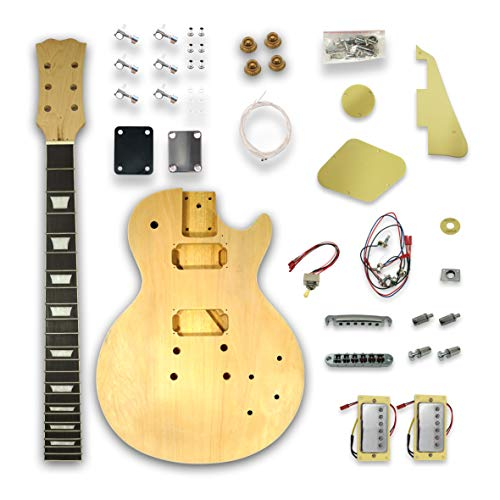 DIY Electric Guitar Kits for LP Style Electric Guitar, Solid Wood Body, Maple Neck & Kabukli Fingerboard