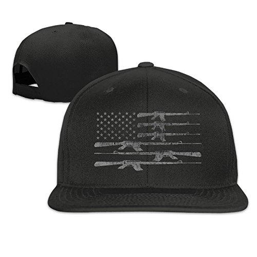 (TMD YOUNG-CAP Big American Flag With Machine Guns 2A Flag Plain Adjustable Snapback Hats Caps Flat Bill Visor)