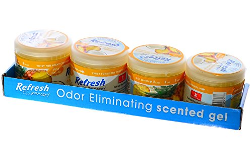 Refresh Scented Gel Can's 4.5 oz Car, Home & Office Air Freshener, Pina Colada (Pack of 4) ()