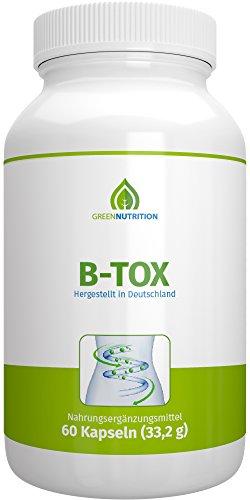 Green Nutrition B-Tox - Ballaststoffe + Chlorella & Spirulina Pulver + Folsäure + Vitamin B6 & B12 + Mateblätter + Kurkuma-Extrakt +100% Vegan + Natürliche Inhaltsstoffe - 1er Pack