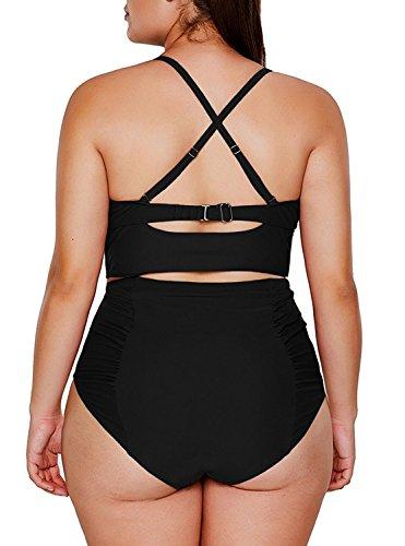 VADOOLL Damen Badeanzug mit Bänden Tief V-Ausschnitt Monokini Neckholder Bandage Körper betont Schwarz Plus size XXXL Schwarz 6ChBz