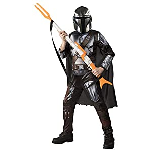 Star Wars The Mandalorian Kids Halloween Costume Large (10-12) Jumpsuit/Cape/Mask/Holographic Detail