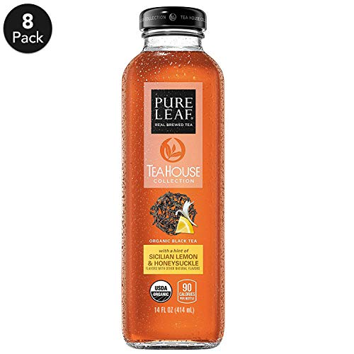 Pure Leaf, Tea House Collection, Organic Iced Tea, Sicilian Lemon & Honeysuckle, 14 fl oz. glass bottles, (8 Pack)