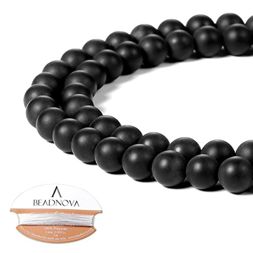 BEADNOVA Black Matte Onyx Beads Natural Crystal Beads Stone Gemstone Round Loose Energy Healing Beads with Free Crystal Stretch Cord for Jewelry Making (6mm, 63-65pcs)