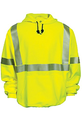 National Safety Apparel Flame Resistant (FR) Hi-Vis Hooded Pullover Sweatshirt, Class 3 (C21HC03C3MD) by National Safety Apparel Inc