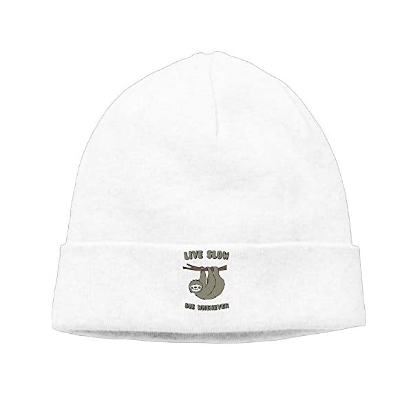 Cute Sloth Live Slow Die Whenever Unisex Thick Caps Beanies Hats -