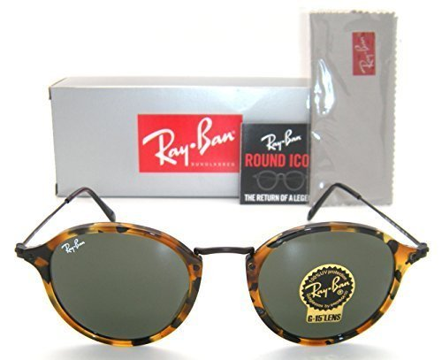 - Ray-Ban Round RB 2447 1157 49mm Spotted Black Havana Frame / Green Lens