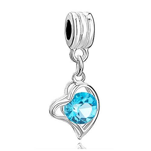 - RUBYCA 5Pcs Heart Dangle Pendant Charm Beads Crystal Rhinestone European Bracelet Aquamarine Blue