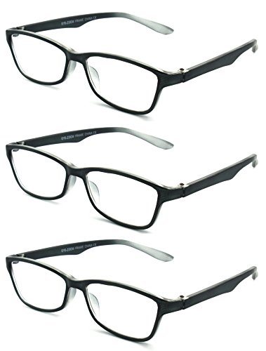 EYE-ZOOM 3 Pairs Simple Style Reading Glasses Comfort Fit for Men and Women Choose Your Magnification, Black, +2.75 - Reading Wide Glasses Face
