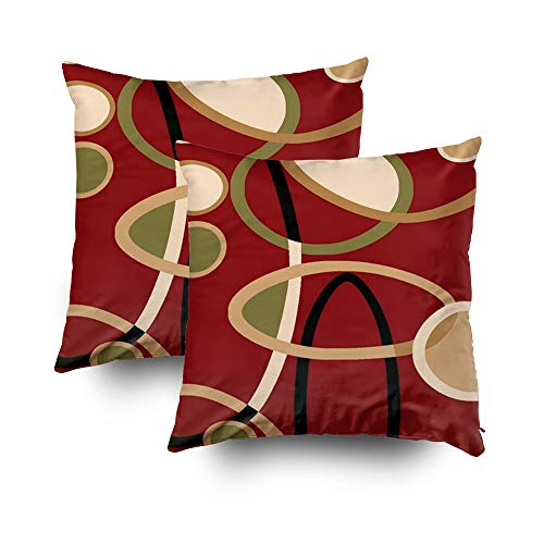 Capsceoll 2PCS cranberry red tan black geometric circle Decorative Throw Pillow Case 18X18Inch,Home Decoration Pillowcase Zippered Pillow Covers Cushion Cover Words Book Lover Worm Sofa Couch