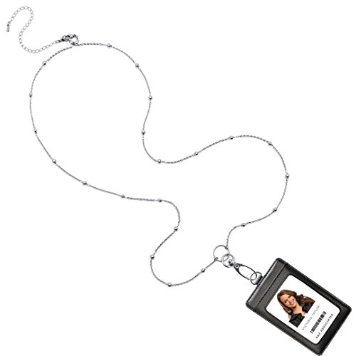 18' Titanium Necklace (Valentina Convertible Necklace Fashion Lanyard with Stainless Steel Chain & Genuine Leather ID Badge Holder. 3 Card Pockets. Adjustable 18-22''' with 4'' Detachable Necklace Extender. Black Holder.)