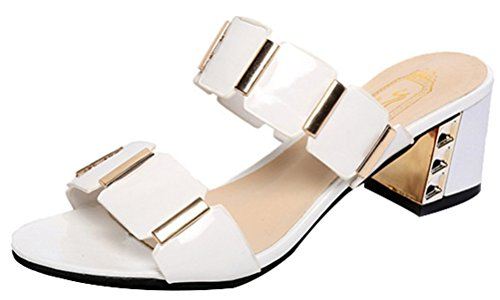 [Passionow Women's Bling Dressy Open Toe Slip-on Mid Chunky Heel Backless Mules Sandals (7.5 B(M)US,White)] (Traditional Greek Dance Costumes For Sale)