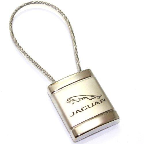 Jaguar Logo Metal Silver Chrome Cable Car Key Chain Ring Fob