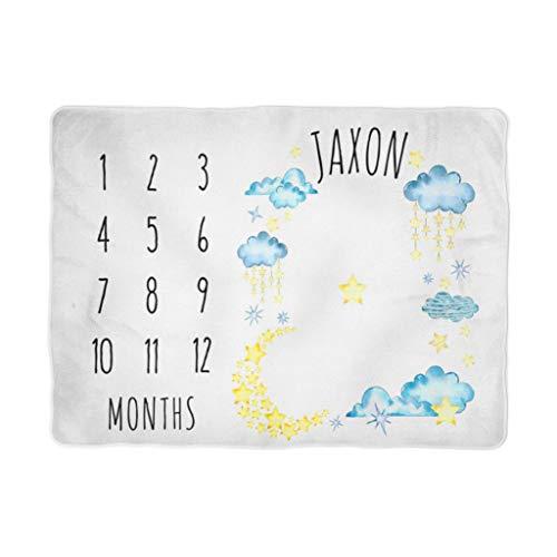 Manta para bebé Milestone – Manta de luna, con diseño de estrellas, con calendario y texto en inglés 'Moon N Stars...