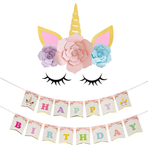 ADIDO EVA Unicorn Paper Flower Backdrop Decorations Happy Birthday Unicorn Banner and DIY Unicorn Flower Backdrop with Glitter Giant Horn Ears Eyelashes
