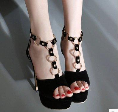 Imperméable Fines Rome Boucle Poisson À L' Talons Avec Zhudj Sandales Black De Chaussures Bouche Hauts Vent HqU4x7