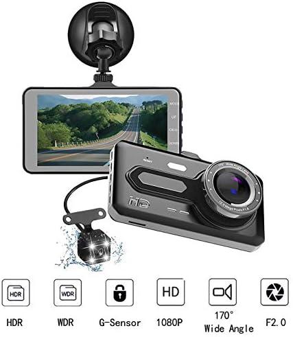 ダッシュカム、6層ガラスレンズ付き4インチタッチスクリーン1080P HDダッシュボードカメラ170°広角、ナイトビジョン、Gセンサー、ループレコーディングおよびパーキングモニター
