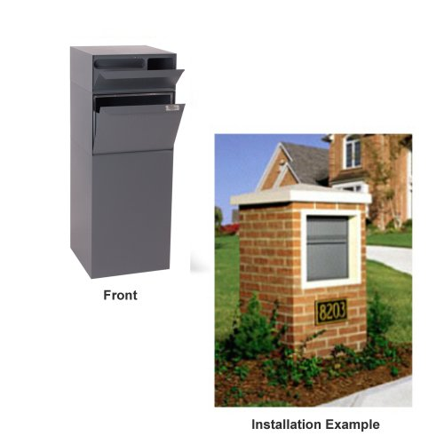 - dVault Full Service Vault DVCS0015 Secure Curbside Mailbox/Package Drop with Locking Letterbox (Gray)